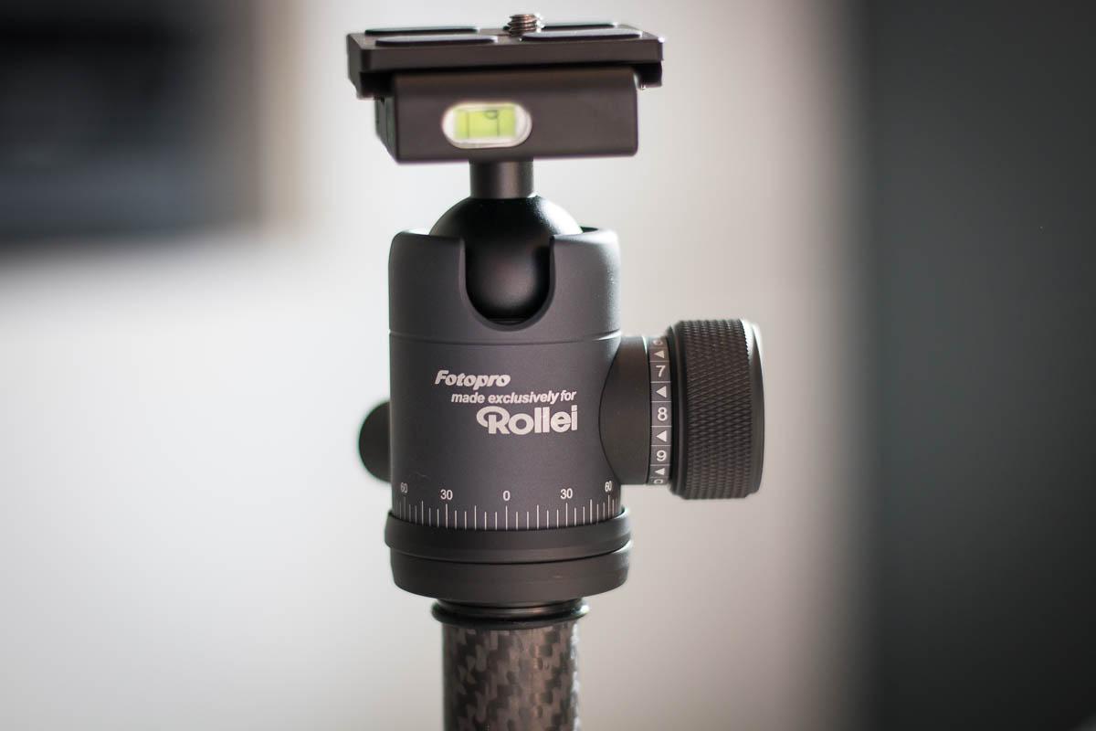 Der Kugelkopf des Rollei City Traveler XL ist für Kameras bis 8 KG ausgelegt